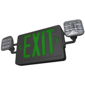 Lavex Industrial Universal Black LED Exit Sign and Emergency Light Combination with Green Lettering and Battery Backup - 120/277V