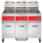 Vulcan 3TR65DF-1 PowerFry3 Natural Gas 195-210 lb. 3 Unit Floor Fryer System with Digital Controls and KleenScreen Filtration - 240,000 BTU