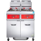 Vulcan 2TR65DF-2 PowerFry3 Liquid Propane 130-140 lb. 2 Unit Floor Fryer System with Digital Controls and KleenScreen Filtration - 160,000 BTU
