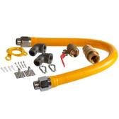 """36"""" Mobile Gas Connector Hose Kit with 2 Elbows, Full Port Valve, Restraining Device, and Quick Disconnect - 1"""""""