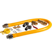 """48"""" Mobile Gas Connector Hose Kit with 2 Elbows, Full Port Valve, Restraining Device, and Quick Disconnect - 1"""""""