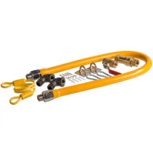 """36"""" Mobile Gas Connector Hose Kit with 2 Elbows, Full Port Valve, Restraining Device, and Quick Disconnect - 1/2"""""""
