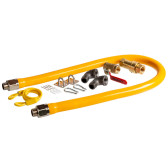 """48"""" Mobile Gas Connector Hose Kit with 2 Elbows, Full Port Valve, Restraining Device, and Quick Disconnect - 3/4"""""""