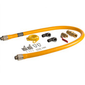 """60"""" Mobile Gas Connector Hose Kit with 2 Elbows, Full Port Valve, Restraining Device, and Quick Disconnect - 3/4"""""""