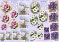 3-D Pre-cut Pyramid Purple & Pink Flowers