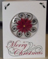 Domed Merry Christmas Card with Quilled Poinsettia