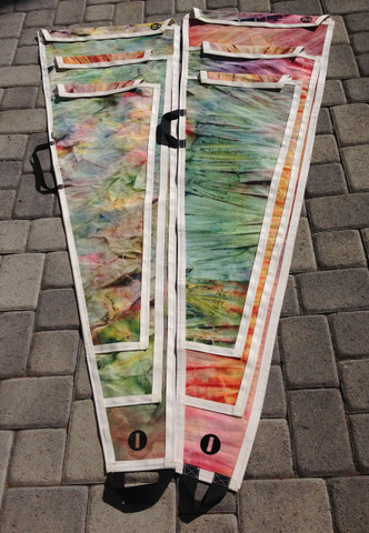 IOM 3 Suit Sailbags. Fabricated from Recycled Sails. Tie dyed to create unique one of a kind sailbags.