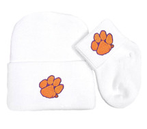 Clemson Tigers Newborn Baby Knit Cap and Socks Set