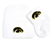 Iowa Hawkeyes Newborn Baby Knit Cap and Socks Set
