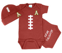 Appalachian State Mountaineers Baby Football Bodysuit and Cap Set
