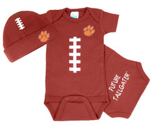 Clemson Tigers Baby Football Bodysuit and Cap Set