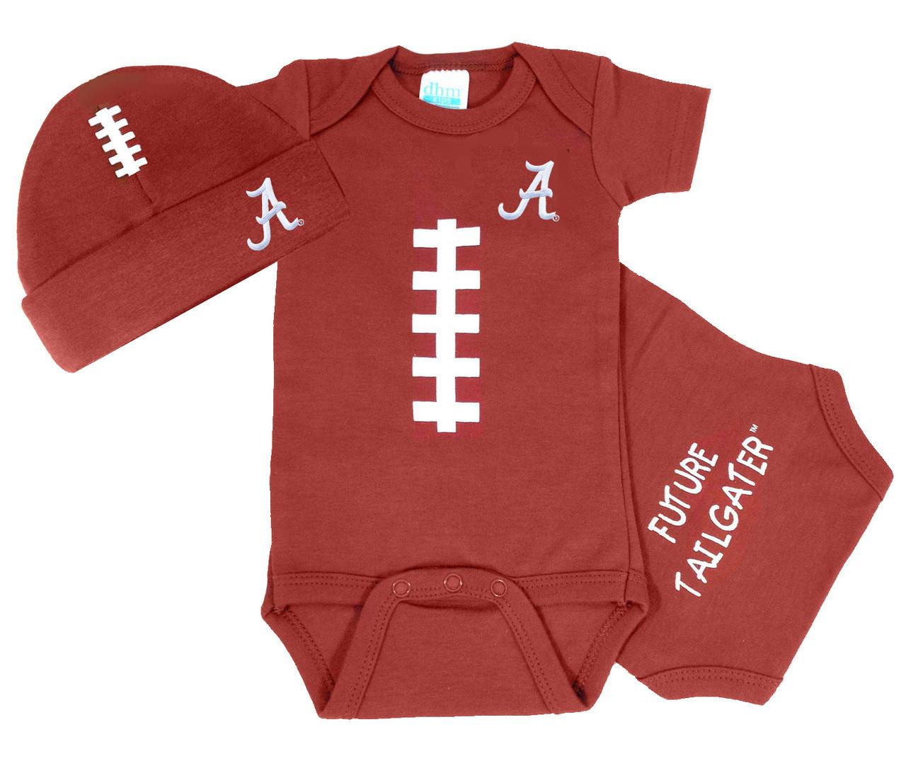 Alabama Crimson Tide Football Onesie and Football Hat Baby Gift Set b552448403f
