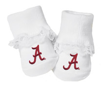 Alabama Crimson Tide Toe Booties with Lace