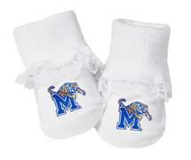 Memphis Tigers Baby Toe Booties with Lace