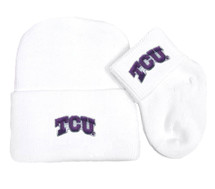 Texas Christian TCU Horned Frogs Newborn Baby Knit Cap and Socks Set