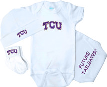 Texas Christian TCU Horned Frogs Homecoming 3 Piece Baby Gift Set