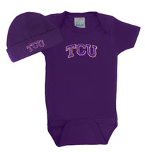 Texas Christian TCU Horned Frogs Baby Bodysuit and Cap Set