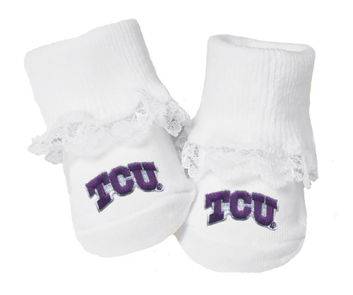Texas Christian TCU Horned Frogs Baby Toe Booties with Lace