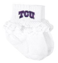 Texas Christian TCU Horned Frogs Baby Sock Booties with Lace