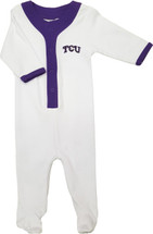Texas Christian TCU Horned Frogs Baby Long Sleeve Baseball Style Playsuit