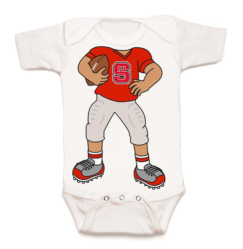NC State Wolfpack Heads Up! Football Baby Onesie