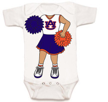 Auburn Tigers Heads Up! Cheerleader Baby Onesie