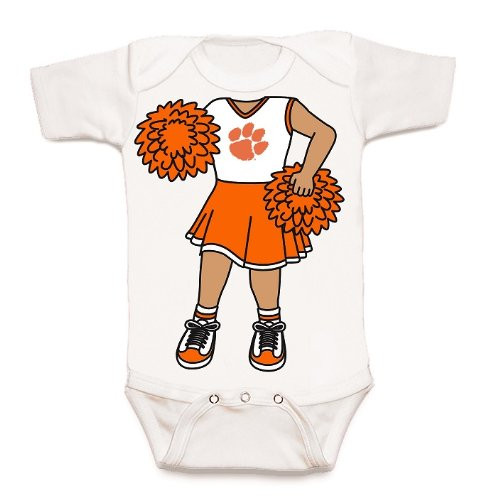 Clemson Tigers Heads Up! Cheerleader Baby Onesie