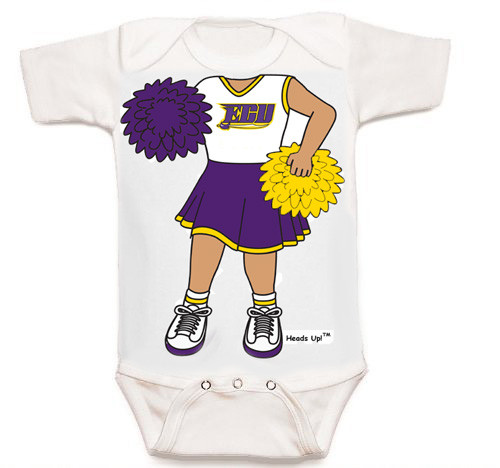 East Carolina Pirates Heads Up! Cheerleader Baby Onesie