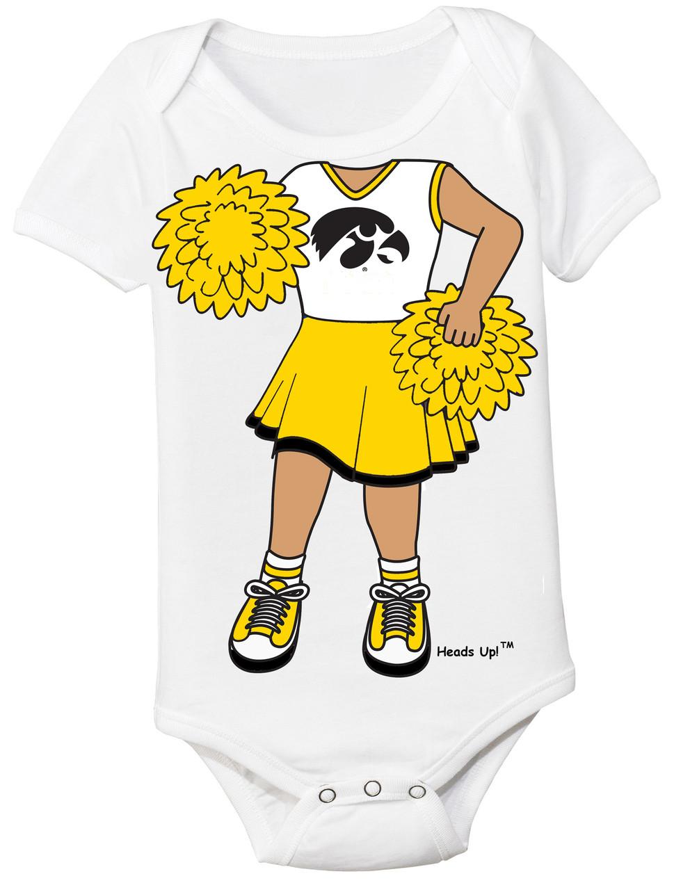 6003363a0 Iowa Hawkeyes Heads Up! Cheerleader Baby Onesie. Loading zoom