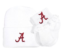 Alabama Crimson Tide Newborn Baby Knit Cap and Socks with Lace Set
