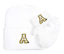 Appalachian State Mountaineers Newborn Knit Cap and Socks with Lace Baby Set