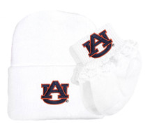 Auburn Tigers Newborn Baby Knit Cap and Socks with Lace Set