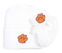Clemson Tigers Newborn Baby Knit Cap and Socks with Lace Set