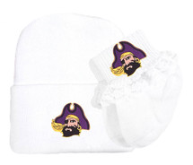 East Carolina Pirates Newborn Baby Knit Cap and Socks with Lace Set