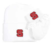 NC State Wolfpack Newborn Baby Knit Cap and Socks with Lace Set