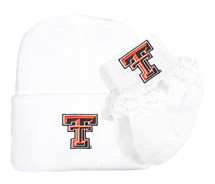 Texas Tech Red Raiders Newborn Baby Knit Cap and Socks with Lace Set