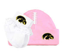 Iowa Hawkeyes Football Cap and Socks with Lace Baby Set