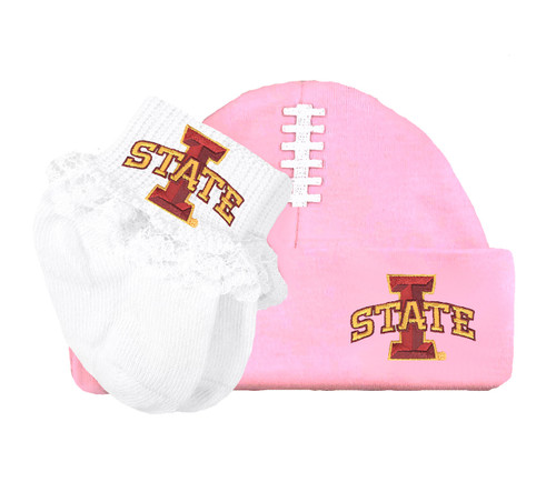 Iowa State Cyclones Football Cap and Socks with Lace Baby Set
