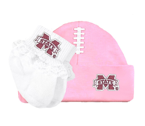 Mississippi State Bulldogs Football Cap and Socks with Lace Baby Set