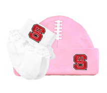 NC State Wolfpack Baby Football Cap and Socks with Lace Set