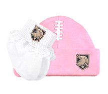 Army Black Knights Football Cap and Socks with Lace Baby Set