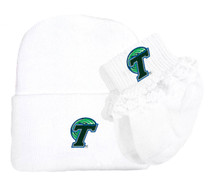 Tulane Green Wave Newborn Knit Cap and Socks with Lace Baby Set