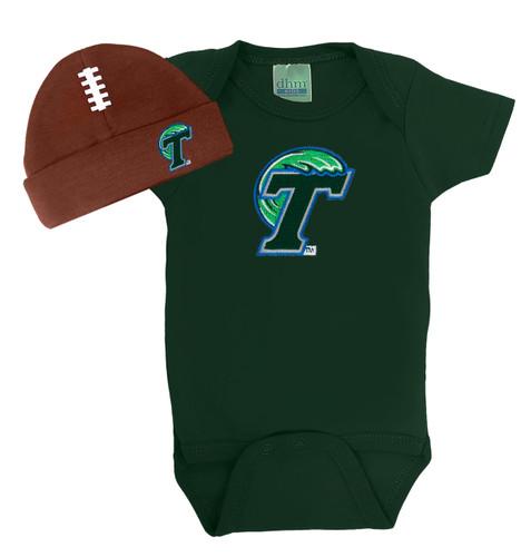 Tulane Green Wave Team Spirit Football Cap and Bodysuit Baby Set