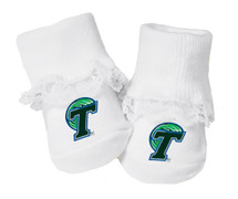 Tulane Green Wave Baby Toe Booties with Lace