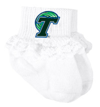 Tulane Green Wave Baby Sock Booties with Lace