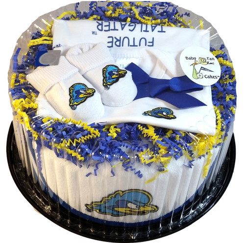 Delaware Blue Hens Baby Fan Cake Clothing Gift Set