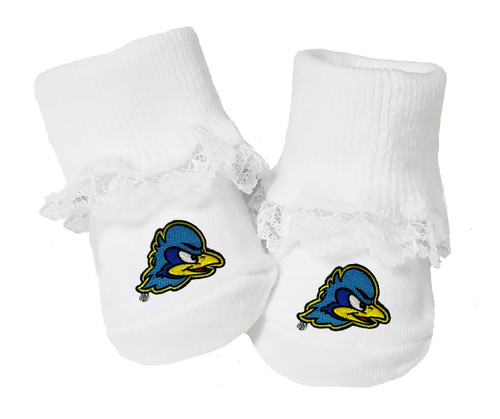 Delaware Blue Hens Baby Toe Booties with Lace