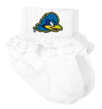 Delaware Blue Hens Baby Laced Sock Booties