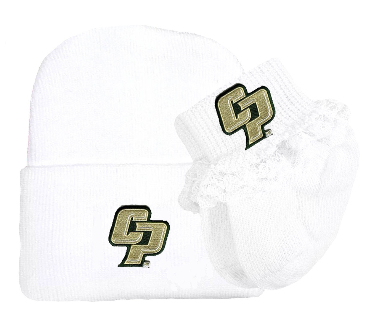 Cal Poly Mustangs Newborn Baby Knit Cap and Socks with Lace Set. Loading  zoom. Cal Poly Mustangs Newborn Baby Knit Cap ... 9781fa557358