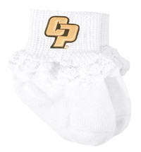 Cal Poly Mustangs Baby Sock Booties with Lace